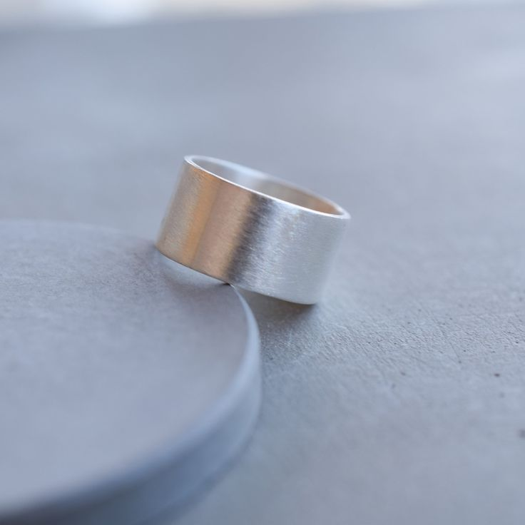 Sterling silver wide band ring