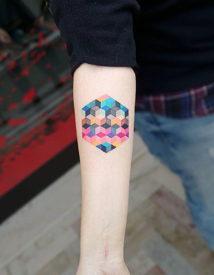 Colorful geometric cubes by Matteo Nangeroni.  http://tattooideas247.com/colorful-geometric-cubes/