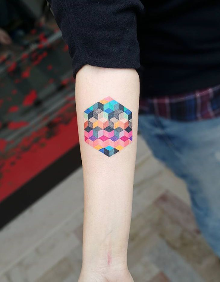 Colorful Geometric Cubes http://tattooideas247.com/colorful-geometric-cubes/