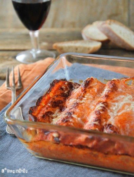 Canelones de pescado con bechamel de pimientos asados - L´Exquisit