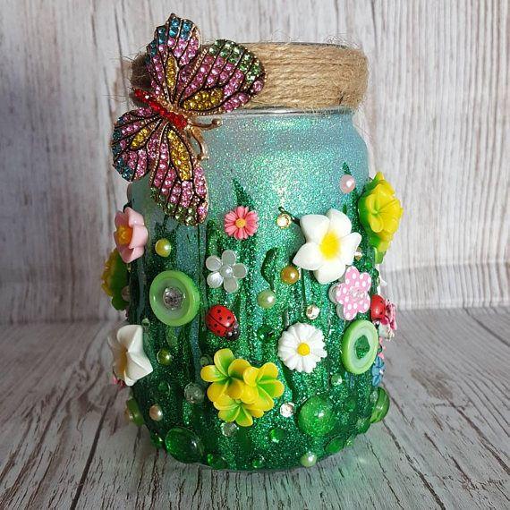 Meadow Jar Light, Jar Lamp, 3D Art Ornament for livingroom, bedroom decor, Jar decoration, Wedding Table centre piece, Wedding candle holder https://www.etsy.com/uk/listing/574526672/meadow-jar-light-jar-lamp-3d-art