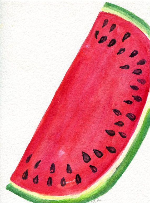 Wassermelone Aquarell Malerei kleine Frucht von SharonFosterArt