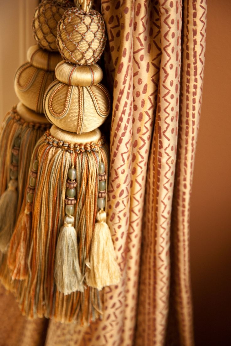 Drapery Side Panels With Large Tassels Tassels