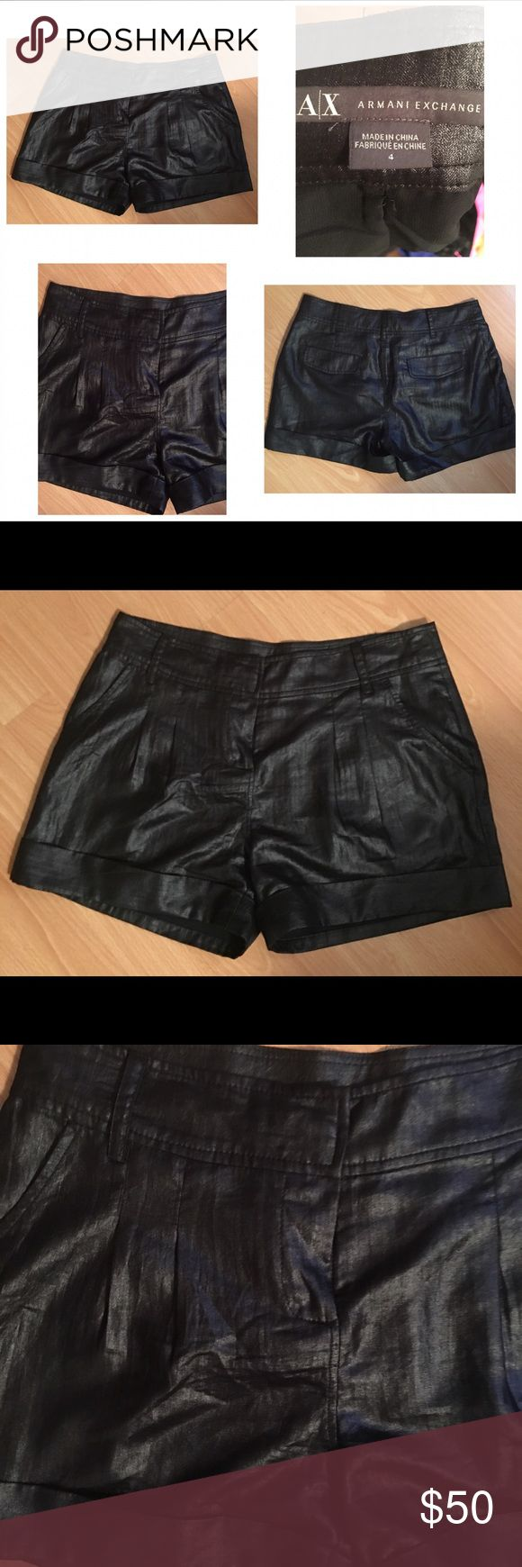 Armani Exchange shorts black These shorts are gorgeous! They look like they are leather but they are a great shiny material . They look great day or night . These were only worn once A/X Armani Exchange Shorts