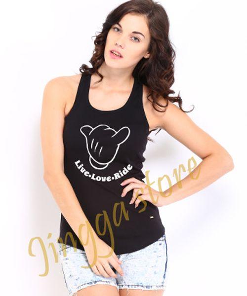 Women T-Shirt Mickey Mouse Hand Hang Loose Hang Black Tank Tops
