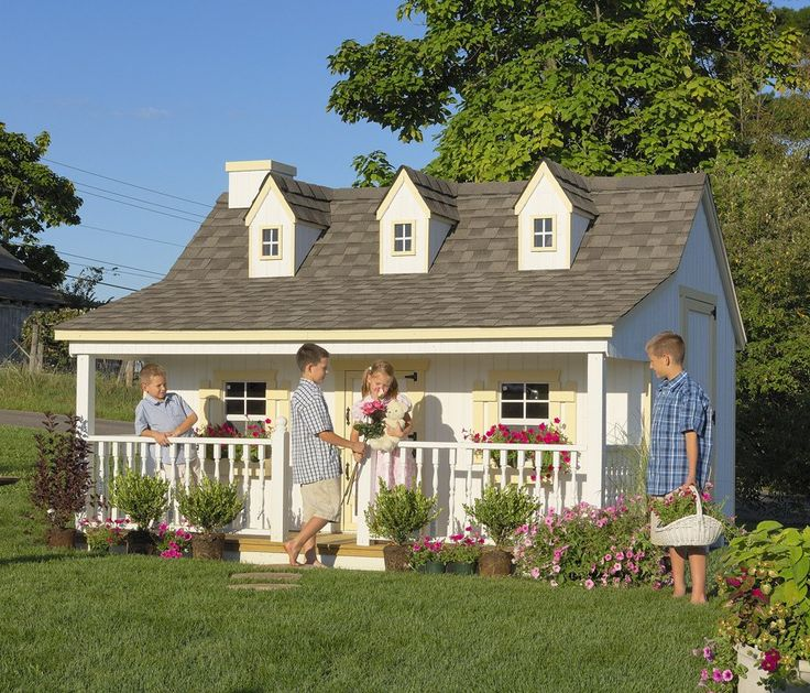 Amish Made Pennfield Cottage Kids Outdoor Playhouse Kit - Playhouses - Outdoor Playtime! - Kids : Pinecraft.com