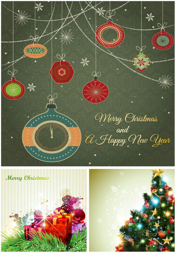 Attractive Retro Ornate Christmas Cards Vector