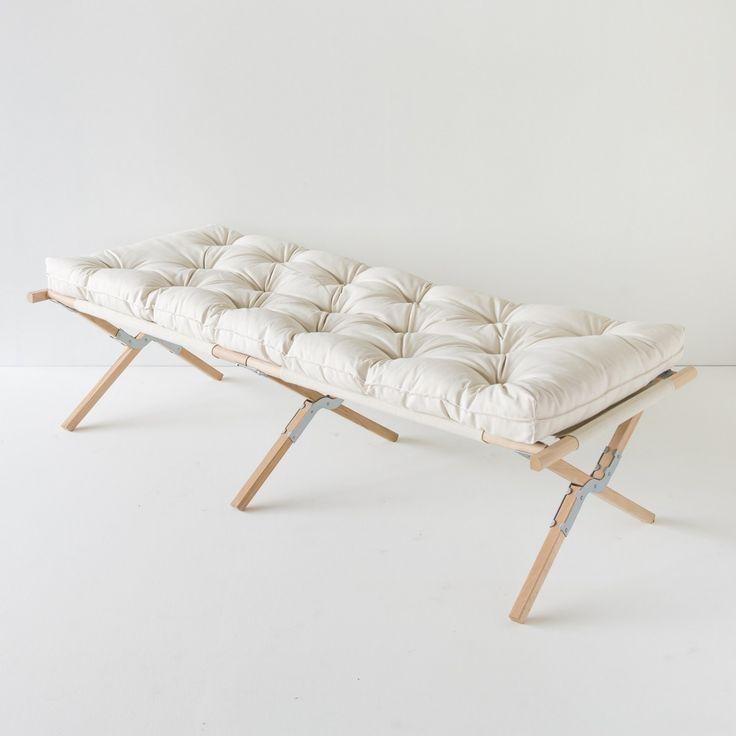 lit de camp toile et bois | Futons d'appoint pure laine artisanal à l'ancienne pour lits 1 ...