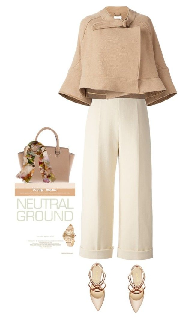 """""""Neutrals"""" by terry-tlc ❤ liked on Polyvore featuring Delpozo, Michael Kors, Nine West, Chloé, Bindya, Accessorize, contest, neutrals and polyvoreeditorial"""