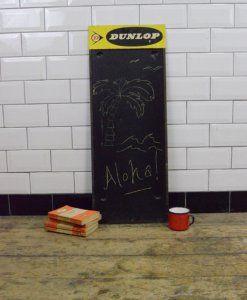 Vintage Industrial Dunlop Advertising Sign Blackboard Chalkboard | lovelitter.co.uk | Warehouse Home Design Magazine