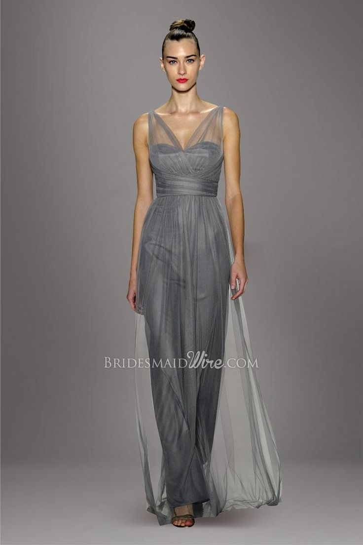 34 best grey bridesmaid dresses images on pinterest a line gray sheer double straps v neckline pleated bodice tulle overlay a line floor length bridesmaid dress ombrellifo Choice Image
