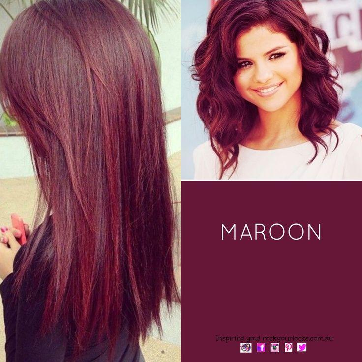 Hair Colour - Maroon #haircolour #redhair wanna try this color!! My hair is like her length! #Selena