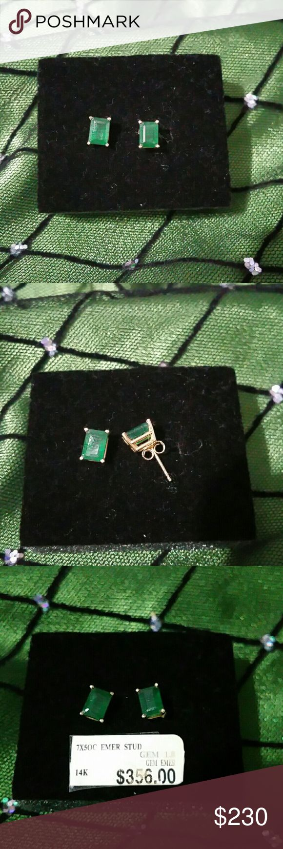 EMERALD EARRINGS Beautiful Emerald cut Emerald earrings!! 14 k.  Worn twice.  Beautiful!  MATCHES the NECKLACE and RING I have listed! Jewelry Earrings