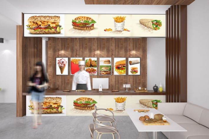 Ranging from print apparel packaging screen logo and more. Fast Food Mockup Showcase Wall Download Here Http 1 Envato Market C 97450 298927 4662 U Https Elements Envato Co Food Mockup Food Branding Fast Food