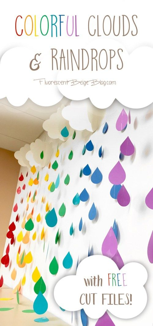 Colorful Clouds & Raindrops #Papercraft #DIY with Free Cut Files #Silhouette
