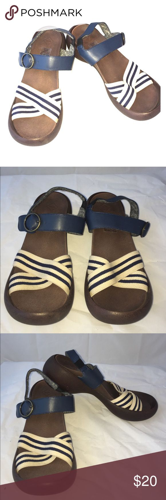 "Regetta Canoe Brown/Blue Egg Heel Sandals Size 7 Brand New without box. Regetta Canoe Womens Egg Heel Sandals Brown Size 7. Unique ""Canoe Like"" design. Comfort to walk and foot support. Excellent stability and grip, It guards toe and heel and prevents stumble. They have an adjustable buckle but also a snap for day to day use. Super Light. Slip resistant. Shock absorption. SUPER comfortable. They do offer a little bit of height. Regetta Canoe Shoes Sandals"