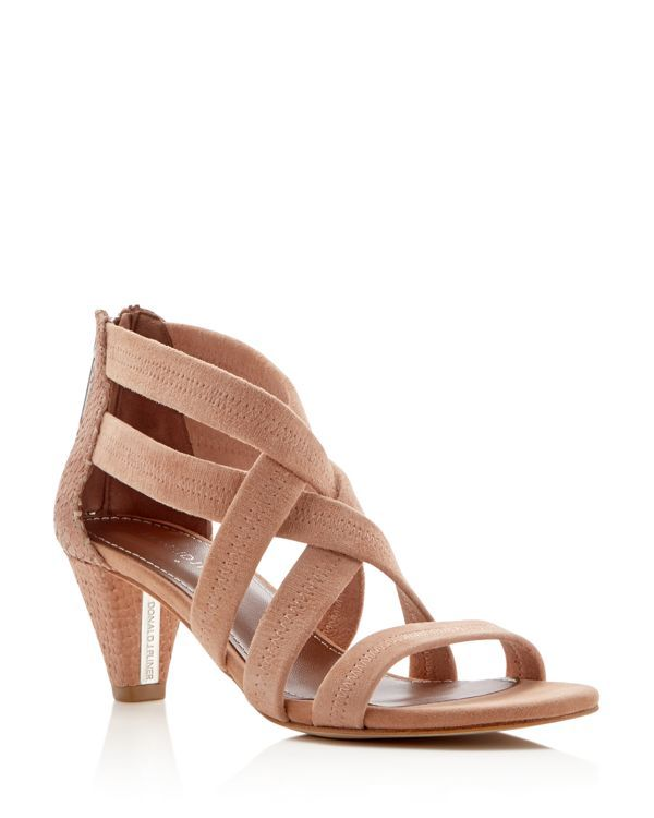 With walkable cone heels for wear-all-day comfort, these strappy Donald J Pliner sandals segue beautifully from day to evening. Textured leather and soft kid suede add rich texture. | Kid suede and le