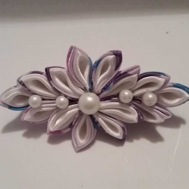 Kanzashi Purple and White Flower Barrette. Made with purple butterfly and white ribbons. #buynow for $6.50