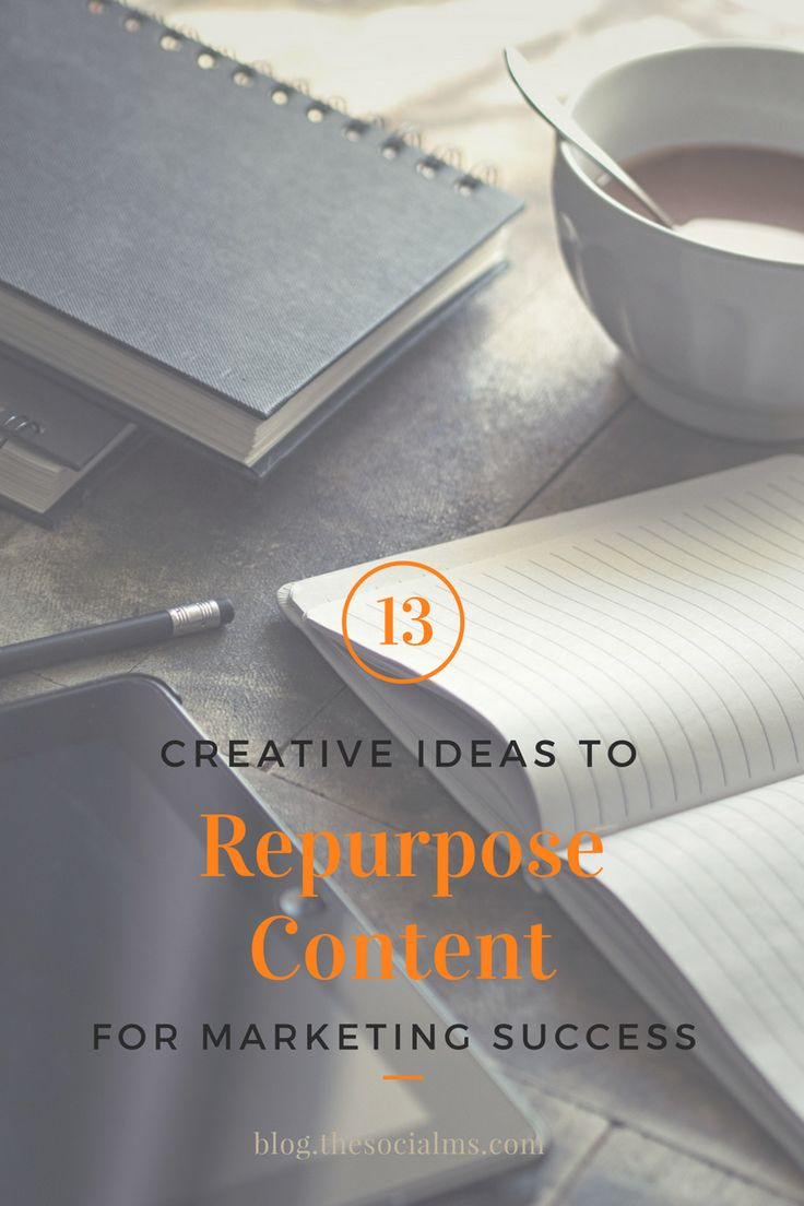 Repurposing content is a great way to be more efficient. Here are 13 ideas to repurpose content to create new content or bring new life to old content. content marketing, content creation, blogging, blogging success