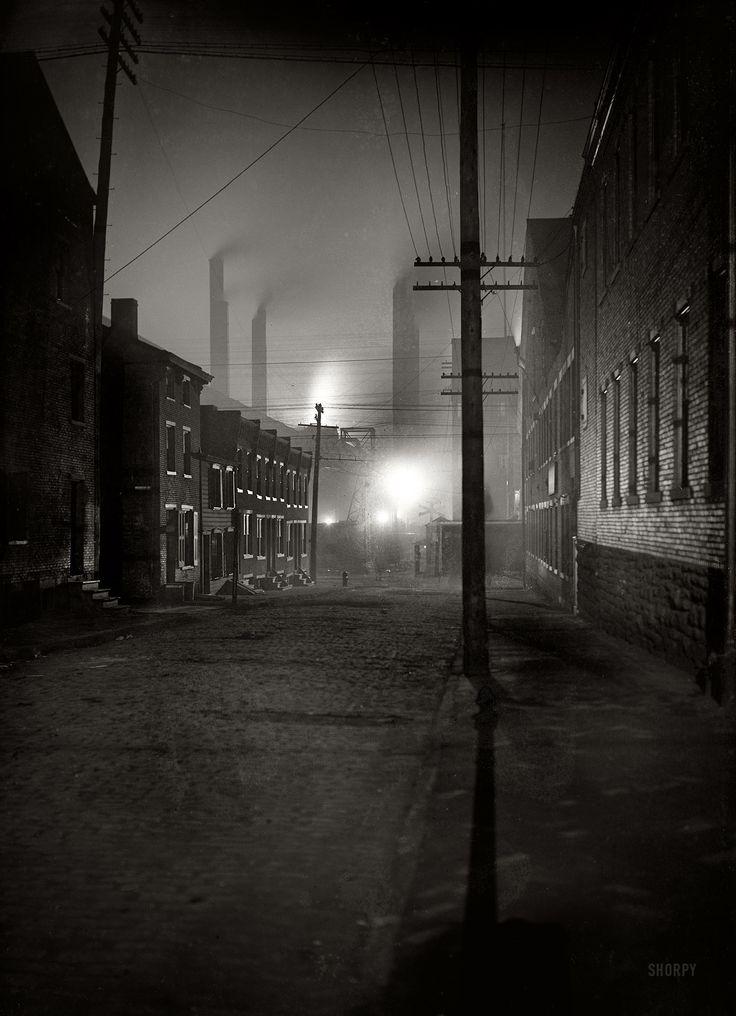 "Pittsburgh, Pennsylvania, circa 1900. ""A Mill Street."" Fifty Shades of Black. 7x5 inch glass negative, Detroit Publishing Company"