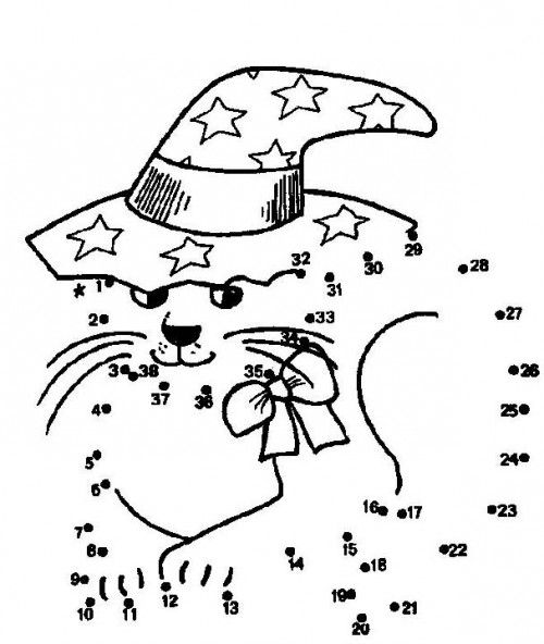 cat wearing hat join the dots halloween coloring pages witch cat