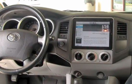iPad in a Toyota Tacoma.