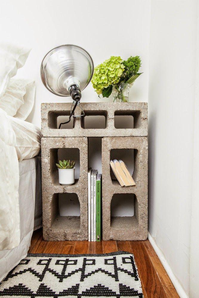 REUSE INSPIRATION | Creare un comodino da blocchi di cemento
