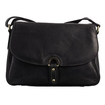 Colour: Black     Adjustable shoulder strap     Front flap-over with mag-dot closure     Zip top under flap      Internally:     Zip pocket     Phone pocket     Two pen holders     Open pocket 20 x 28 x 10 cm http://www.marshallshoes.co.uk/womens-c2/bolla-bags-ladies-orleans-black-leather-handbag-p3242