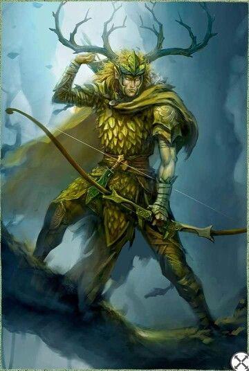 Senhor Elfo Lagaron, Lorde da Floresta Verde, chifre de alce, arqueiro
