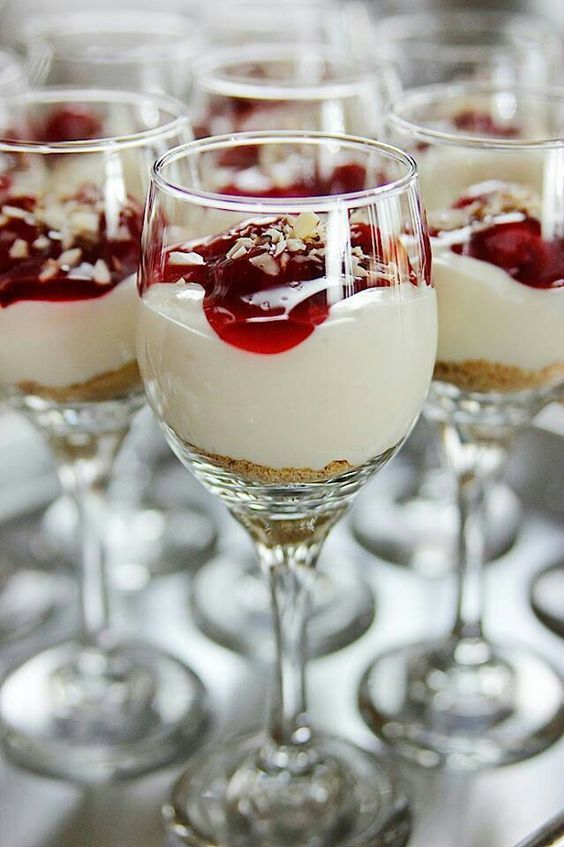 Pioneer Woman's Cheesecake Shooters. I knew there was a reason to keep wine glasses around