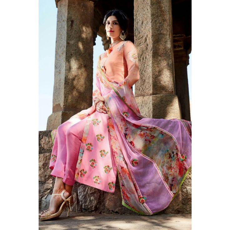 Peach Cotton Party Wear #Churidar Kameez With Dupatta- $48.98