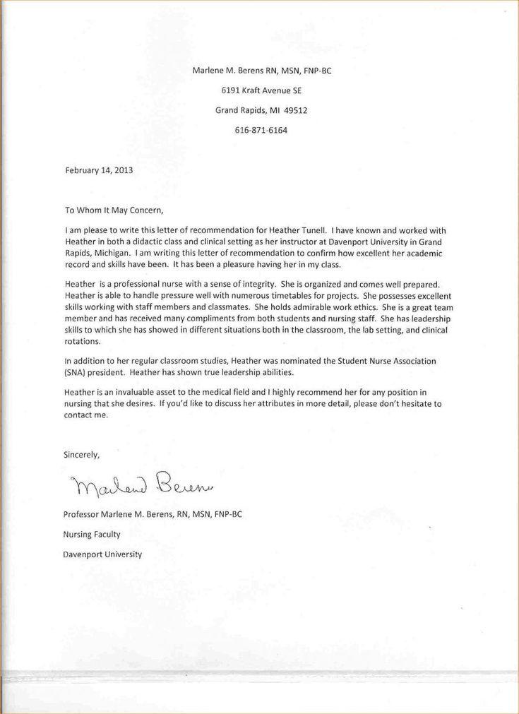 Letter for nursing graduate school best of