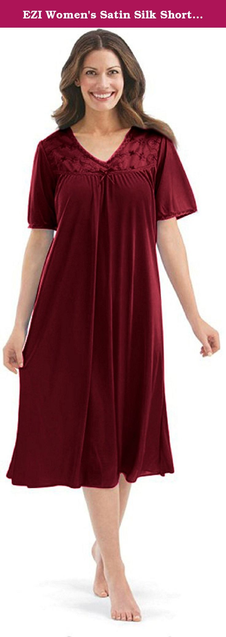 EZI Women's Satin Silk Short Sleeve Lingerie ,Red,XL. This Satin Silk Womens Short Sleeve nightgown will make you look great. The lightweight Satin Silk material, keeps you cool and will provide a faltering fit for any size women. Lace Detailing near the bust/neckline gives a sexy touch. Available in Regular & Plus Size.