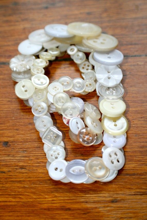 55cms White Button Necklace by KatieHootie on Etsy, $20.00