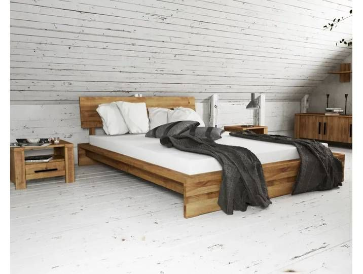 The Beds Cubic Solid Wood Bed 200 200 Cm Wild Oak Natural Oiled Major In 2020 Low Bed Frame Low Bed Solid Wood Bed