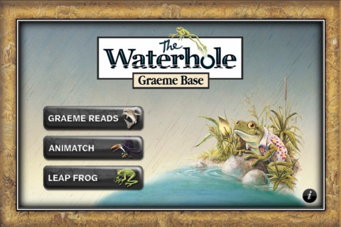 Animalia App for iPad and iPhone, we are excited to bring you the latest Graeme Base iPhone App: 'The Waterhole by Graeme Base'.