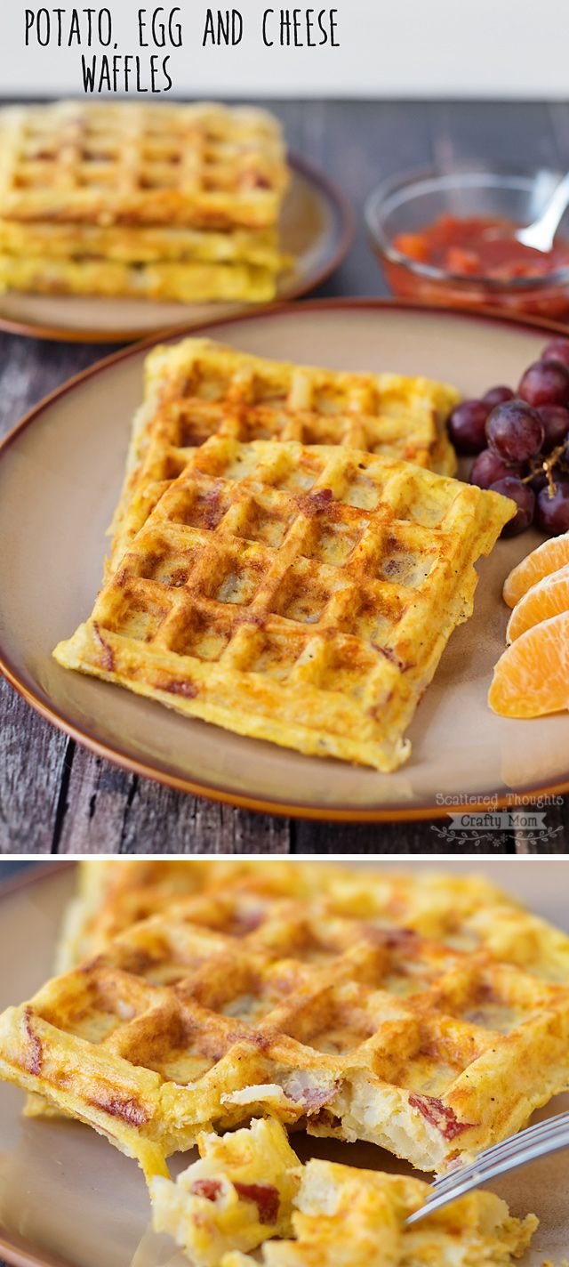 Breakfast for dinner anyone? These Potato, Egg and Cheese Waffles are a must try... so yummy (and ridiculously easy to make!) #breakfast #recipes #easy #brunch #recipe