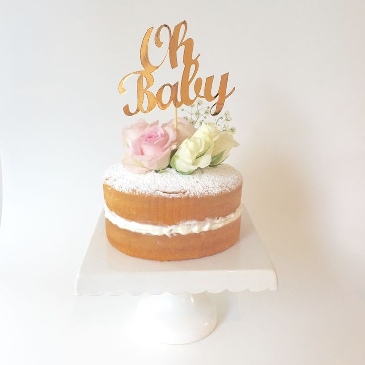 'OH+BABY'+METALLIC+COPPER+CAKE+TOPPER+/+BABY+SHOWER+CAKE+TOPPER+DECORATION, $16.00