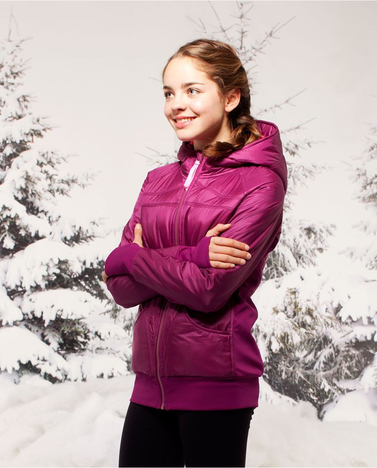 this insulated, body–mapped hoodie helps you stay warm and moves with you through your winter warm–ups. | ivivva Remix Hoodie*Special Edition