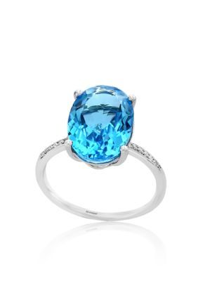 Effy Women Blue Topaz Diamond Ring In 14K White Gold - Blue - 7