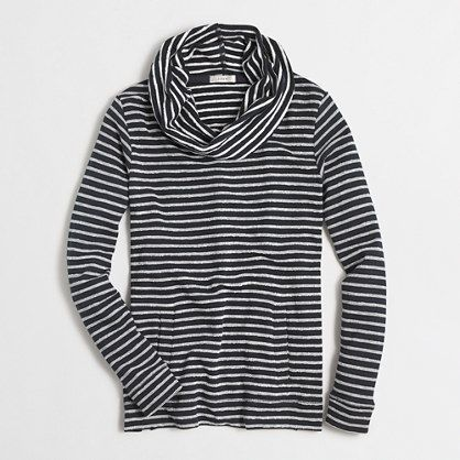 Striped terry funnelneck sweatshirt with pockets
