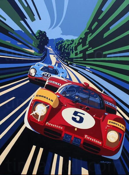 By Tim Layzell, immensely talented artist. Porsche 917 and Ferrari 512S