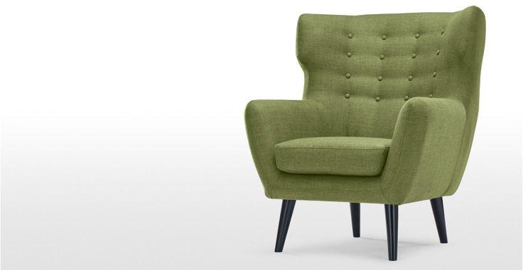 Kubrick fauteuil met gevleugelde rugleuning, limoengroen | made.com