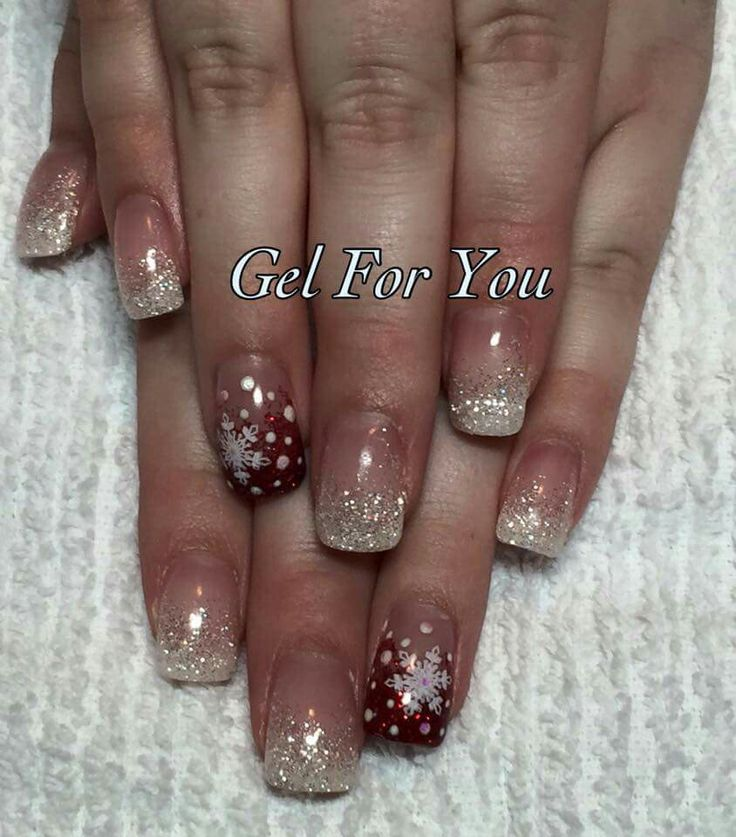 simple glitter fade with snowflake