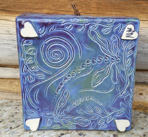Pottery Napkin Holder, Dragonfly, Swirls, Leaves, Box Napkin Holder, Ceramic Napkin Holder, Flat Napkin Holder, Formal Dining, Spirit Animal