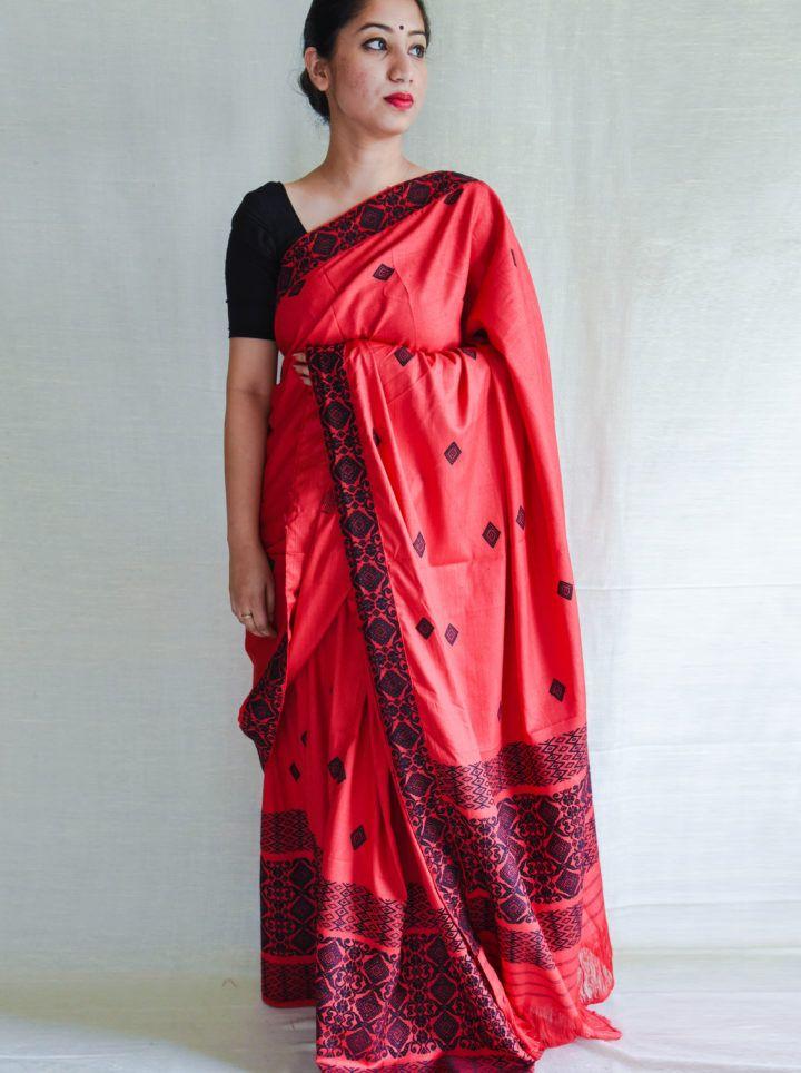 #MekhelaChadar #Red #Silk #Assam