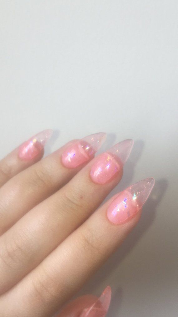Reusable Peachy Pink Jelly Press On Nails With Holographic Etsy In 2020 Press On Nails Stick On Nails Holographic Nails