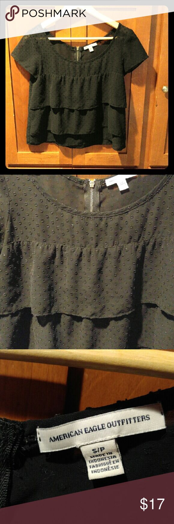 American Eagle Outfitters Top Sz. SP Super cute pointelle layered AE Outfitters Top in black. Sz. SP American Eagle Outfitters Tops Blouses