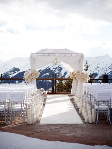 aspen, co wedding inspiration | mountain wedding | ceremony site | via: huffington post weddings