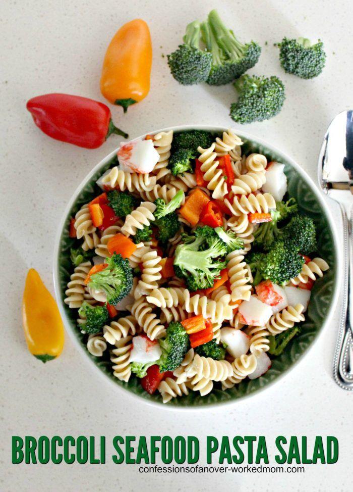 Quick and Easy Broccoli Pasta Seafood Salad Recipe #BarillaPlus #BarillaGlutenFree #ad @walmart @barillaus